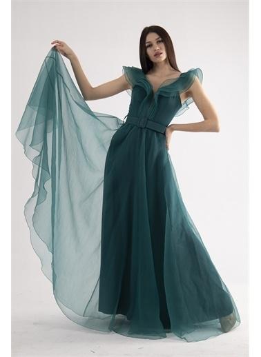 Belamore  Yeşili Volanlı Abiye & Mezuniyet Elbisesi 1301601.448 Yeşil
